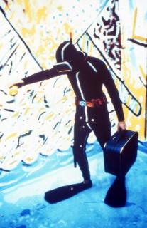 Albuquerque Mendes e Gerardo Burmester. Férias no Espaço Lusitano, 1983. Imagem da performance no Espaço Lusitano, Porto, 05.07.1983 © Autor desconhecido — Cortesía de la Galeria Municipal do Porto