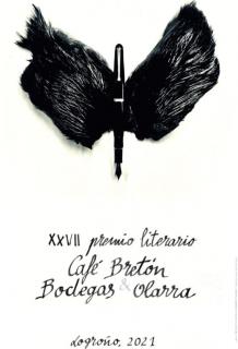 """Cartel del XXVII Premio Literario Café Bretón / Bodegas Olarra a partir de la pieza """"Pajarográfico"""" de Francisco Gestal y con caligrafía de Roberto Pajares """"Pájaro""""."""
