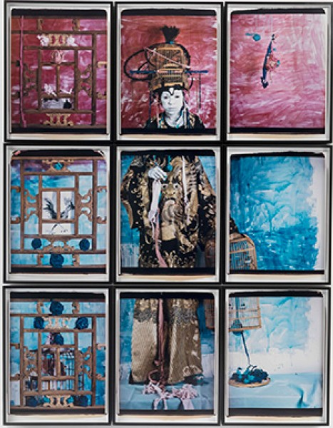 Maria Magdalena Campos-Pons The Flag. Color Code Venice 13, 2013 Polaroid photograph, nine panels of 29 3/4 x 22 3/4 in. each  Courtesy of the Shelley and Donald Private Collection  © Maria Magdalena Campos-Pons