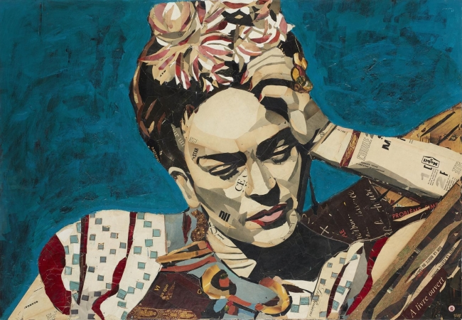 Pedro García Villegas, Coyoacan, 90x130 cm., Mixta i collage sobre fusta — Cortesía de la Galería Jordi Barnadas