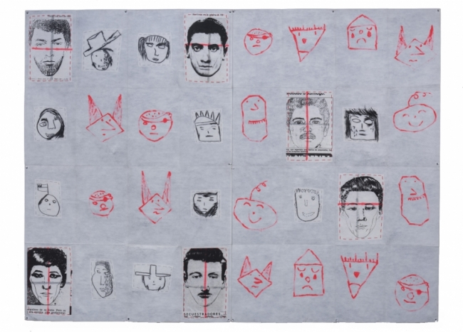Eugenio Dittborn, The 9th History of the Human Face [Hierba Menuda] Airmail Painting No. 82m, 1990, Paint, charcoal, stitching and photosilkscreen on two sections of non woven fabric