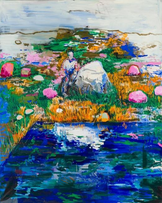Lacalle, Estanque, 2019. Óleo sobre lienzo, 290 x 200 cm. OAK GM 190701-019 — Cortesía de la Galería Marlborough