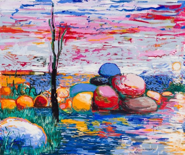 Lacalle, Como tú, piedra 2019. Óleo sobre lienzo, 178 x 211 cm. OAK GM 190701-006— Cortesía de la Galería Marlborough