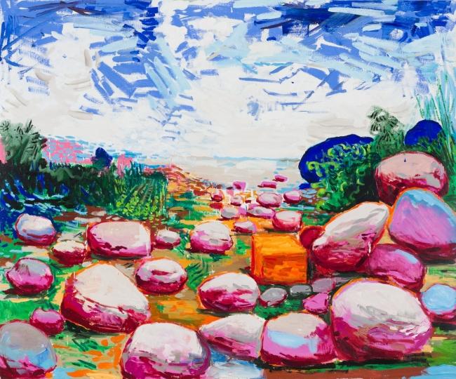 Lacalle, Una rambla, 2019. Óleo sobre lienzo, 195 x 162 cm. OAK GM 190701-009— Cortesía de la Galería Marlborough