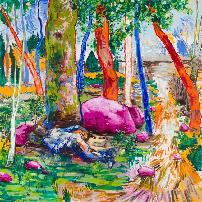 Lacalle, Siesta, 2019. Óleo sobre lienzo, 200 x 200 cm. OAK GM 190701-010 — Cortesía de la Galería Marlborough