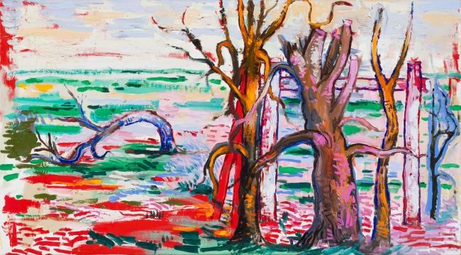 Lacalle, Baile, 2019. Óleo sobre lienzo, 80 x 145 cm. OAK GM 190701-013 — Cortesía de la Galería Marlborough
