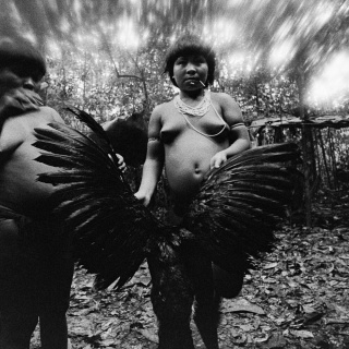 Candinha and Mariazinha Korihana thëri clean curassow, whose feathers are used to fledge arrows, Catrimani, Roraima State, Brazil, 1974. Picture © Claudia Andujar.