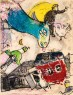 Marc Chagall / Poemas_ Grabado 13, 1968 / Xilografía y Collage / © VEGAP, A Coruña, 2020. - Chagall ® — Cortesía de la Fundación Barrié