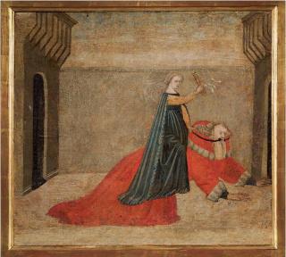 Maestro del jucio de Paris: Aristóteles y Phyllis. c. 1440. Témpera sobre panel de madera. 46 x 50 x 4 cm. Museo Stibbert, Florencia (inv. no. 299) — Cortesía de àngels barcelona