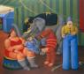 Fernando Botero, Gente del circo con elefante, 2007, óleo sobre lienzo — Cortesía de Arthemisia