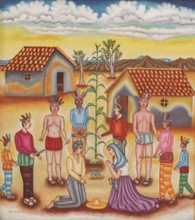 """Felipe Morales (San Pedro Mártir Ocotlán, Oaxaca, 1959). """"El rito del adiós"""", 1989 Óleo sobre tela, 90 x 80 cm. Colección Ralli — Cortesía del Museo Ralli Marbella"""