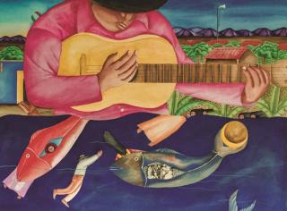 """Fernando Olivera (Oaxaca de Juárez, Oaxaca, 1992 – 2018). """"Rin del angelito"""", 1989 Gouache s/papel, 76x56 cm. Colección Ralli — Cortesía del Museo Ralli Marbella"""