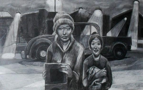 PRIMER PREMIO: HÉCTOR DESTÉFANIS, Pueblo abandonado -Carbón y tiza- 0,80 x 1,20 m- 2016