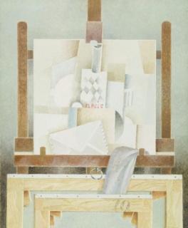 Francesc Todó, Quadre cubista al cavallet. Acrílic sobre tela. 81 x 65 cm. 1998