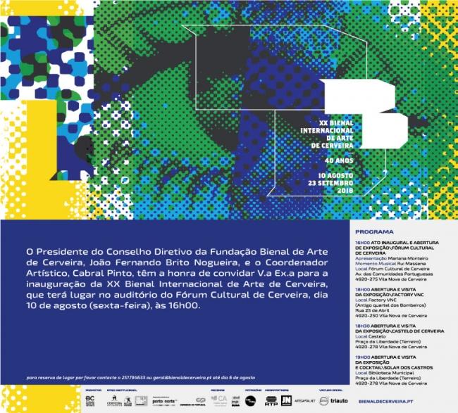 Invitación a la XX Bienal Internacional de Arte de Cerveira
