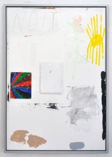 Eloy Arribas, Aló la nuit 140x100 acrílico, tempera y collage sobre papel encolado a tabla – Cortesía de la Galería Herrero de Tejada