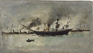 Ignacio Pinazo   Barco de vapor, s.f. – Cortesía del IVAM