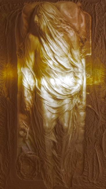 Mat Collishaw, The Corporeal Audit, 2012. Corian, acrílico, acero, iluminación, 170 x 90 x 16 cm. Cortesía del artista y Blain l Southern