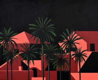 Greta Chicheri. Desde las palmeras IV, 2020. Acrílico/lienzo 100 x 80 cm. — Cortesía de la galería de arte Utopia Parkway
