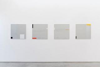 Marcus Vinicius, Acidados, 2014, vidro jateado, ácido, adesivo vinílico e alumínio, 70 x 75 cm cada