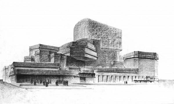 Perspectiva a mano alzada. Ópera de Madrid, España, 1962. Lápiz sobre papel, Rafael Moneo. Cortesía Fundación Barrié