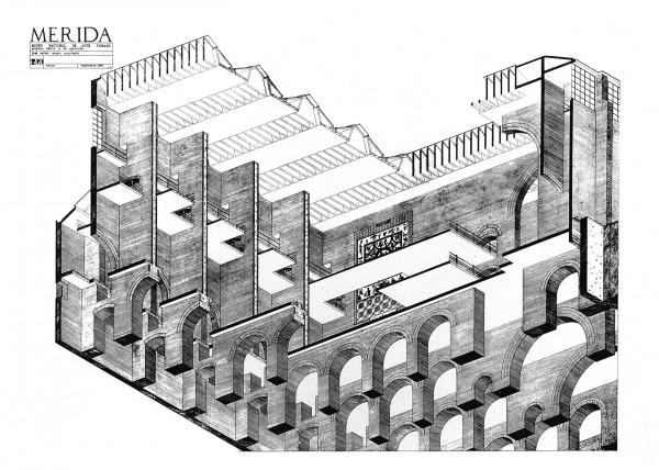 Axonometría constructiva seccionada, Museo Nacional de Arte Romano, Mérida, España, 1980-1986. Lápiz sobre papel. Rafael Moneo. Cortesía Fundación Barrié