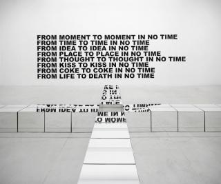 Trash Cross, 2016 - espejo y madera. / Time, 2015 - letras en vinilo negro.