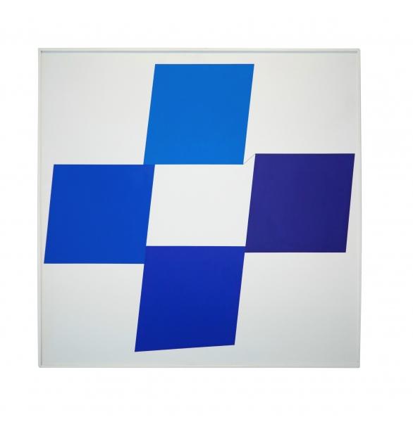 Geneviève Claisse-Quark Blue, 1975, Acrylic on paper, 150 x 150cm