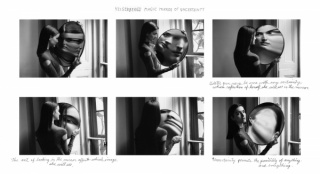 Duane Michals, Dr. Heisenberg's Magic Mirror of Uncertainty, 1998. Sequence of six gelatin silver prints with hand applied text. © Duane Michals. Courtesy DC Moore Gallery, New York