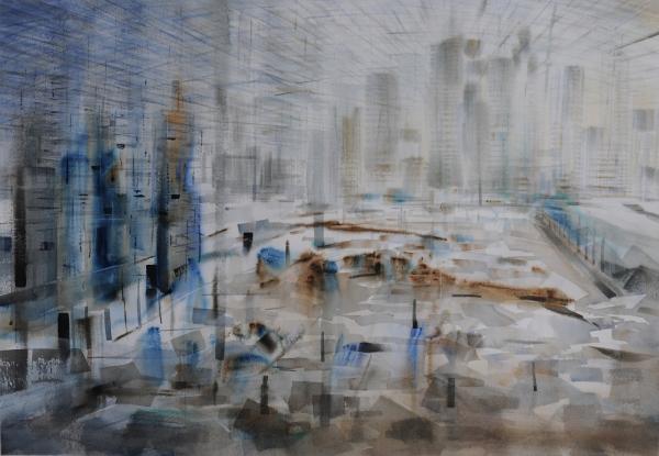 ROBERTO BATISTA Metrópoli, 2014. Acuarela sobre papel, 70 x 102 cm.