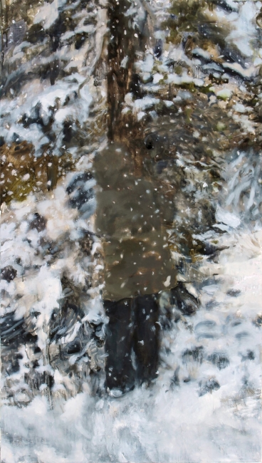 Raisa Raekallio & Misha del Val, 'Love Attack', óleo sobre lino, 140 x 79 cm, 2018 — Cortesía de Espacio Marzana