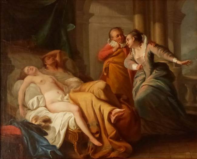 Carle Van Loo, 1705-1765. A woman discovering lovers ina bed, oil on canvas, 45 x 54 cms.
