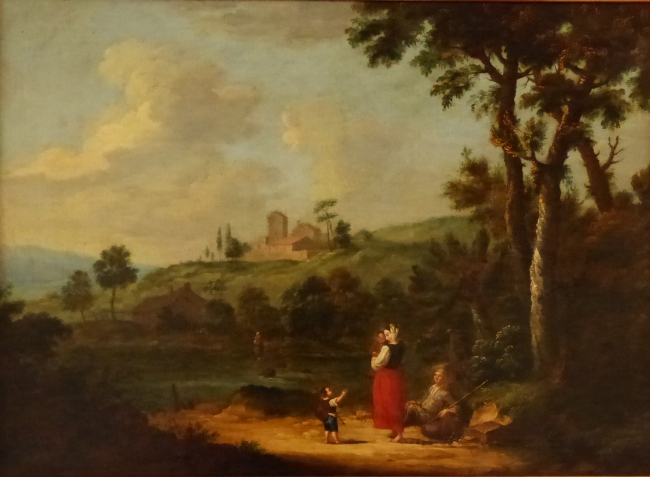 Francesco Zuccarelli, 1702-1788. A river lanscape with a peasant family resting on a track, oil on canvas, 38 x 53 cms.