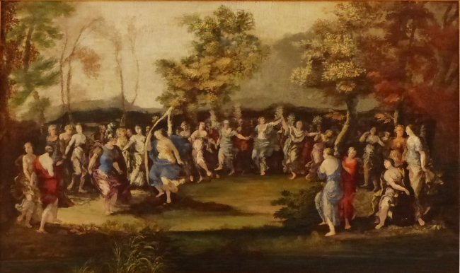 Giovanni Gioseffo Dal Sole, 1654-1719. A warrior dancing amongst nymphs in a glade, oil on paper, 27 x 46 cms.