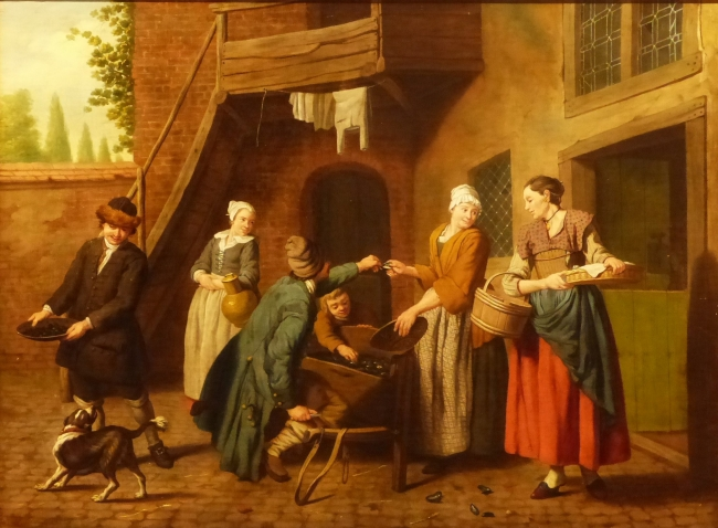 Jan Josef Horemans, 1682-1752. A courtyard in a townwith a mussel seller and other figures, oil on canvas, 47 x 60 cms.