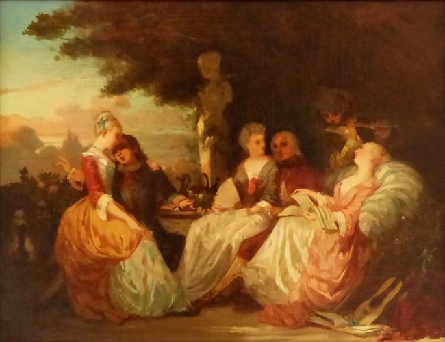 Jean Baptiste Pater, 1965-1736. A fete galante, oil on paper, 31 x 41 cms.