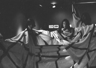 Eugenio Espinoza, Untitled, 1973 Performed as part of Textiles, grids, post cards, Galeria Conkright, Caracas, 1973. Documentary photograph, edition of X. Courtesy the artist