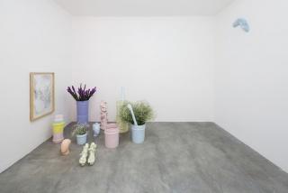 "View of Cristina Tufiño's ""Dancing at the End of the World"" at Galeria Agustina Ferreyra, Mexico City, 2019. (Left) Cristina Tufiño, Constellation Sunset (Cubetas del Atardecer), 2019. Mixed-media installation, dimensions variable. (Right) Cristina Tufiño"