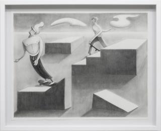 Michael Luberry, Skatepark, 2019. Pencil on paper, 67.5 x 55 cm (26.57 x 21.65 inches) framed. Unique — Cortesía de la Galería Agustina Ferreyra