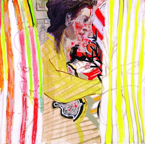Carlos Franco, Llama hermafrodita, 1995, técnica mixta sobre madera, 123,3 x 123,3 cm.