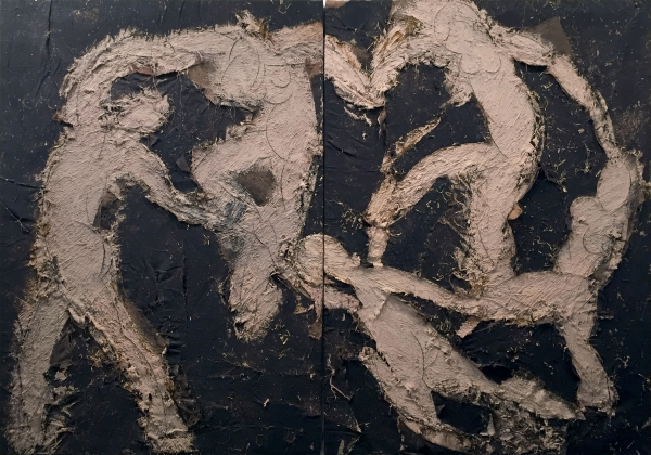 Manolo Valdés, La danza, 1987-88, óleo sobre arpillera, 240 x 343,5 cm.