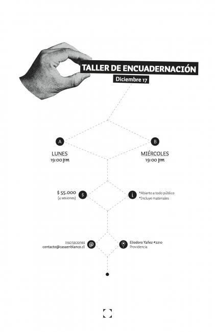 TALLER ENCUADERNACIÓN. Imagen cortesía Casa en Blanco