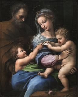 Rafael, La Virgen de la rosa. Óleo. Tabla pasada a lienzo. 103 x 84 cm. Hacia 1517. Madrid, Museo Nacional del Prado — Cortesía del Museo Nacional del Prado