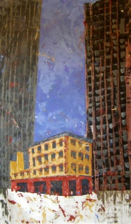 Paz Aymerich, Estoy aquí. Acrílico sobre lienzo, 183x92 cm. — Cortesía de Stoa Gallery