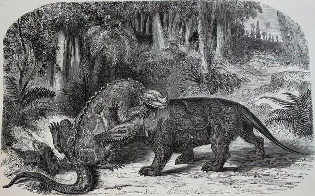 Édouard Riou - Megalosaurio contra iguanodón 1865. Cortesía de Fundación Marso