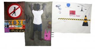 No Martins I Campo Minado l Acrílica sobre lona, instalação de áudio e placa de trânsito I 220 x 430 cm l 2018 — Cortesía de Baró Galeria