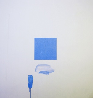 Eugenio Espinoza Good Blue Day , 2019 Acrylic on linen 56 x 56 inches Image courtesy Piero Atchugarry Gallery and the artist