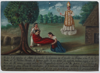 Ex-voto Dedicated to Saint Martin of Tours, 1886, Mexico, oil on tin, Dallas Museum of Art, gift of Mr. and Mrs. Stanley Marcus Foundation, 1961.84 — Cortesía del Dallas Museum of Art