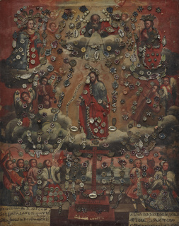 The Ascension of Christ, late 18th–Early 19th century, Mexico, oil on canvas with metal milagros, Dallas Museum of Art, The Cleofas and Celia de la Garza Collection, gift of Mary de la Garza-Hanna and Virginia de la Garza and an anonymous donor, 1994.37.6