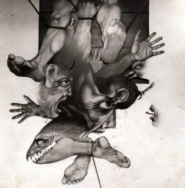 Sergio Abraín, Noche, 1975. Óleo sobre lienzo, 120 x 120 — Cortesía del Ayuntamiento de Zaragoza